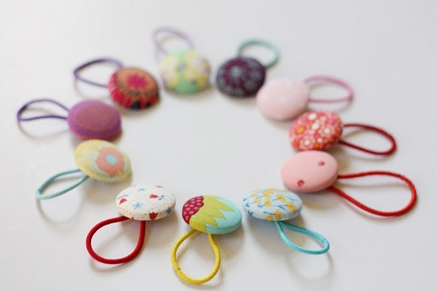 covered button pony tail holders
