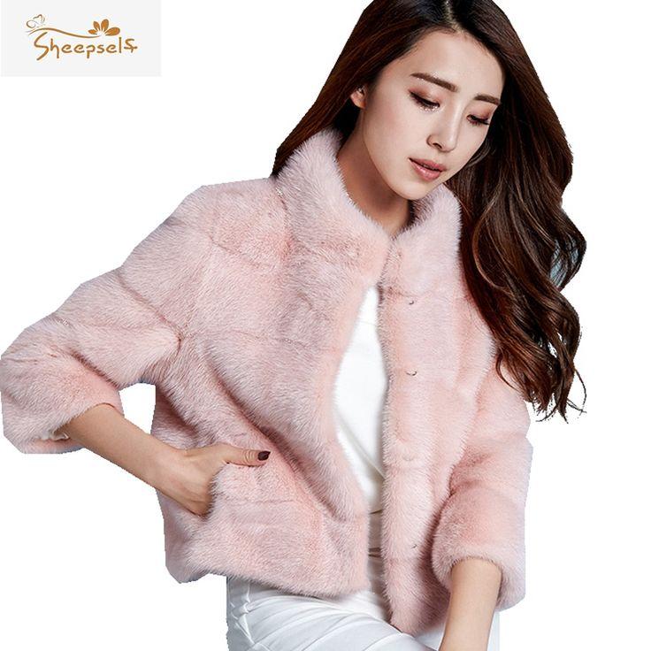 2016 Fashion Winter Women Faux Mink Fur Coats Plus Size Stand Collar Three Quarter Sleeve Solid Thicken Slim Femme Jackets WF608
