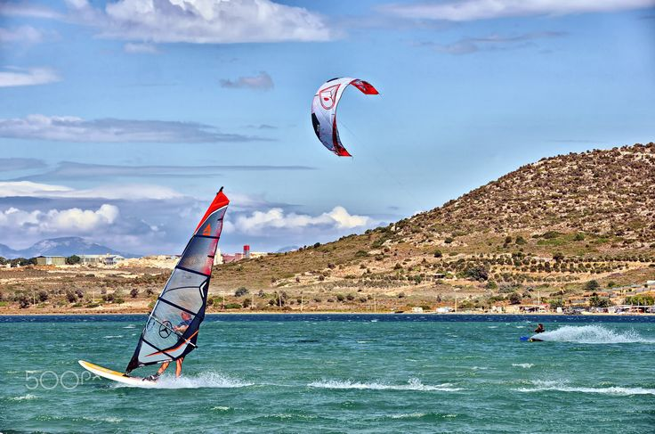 which is faster? - a windsurf and a kite sailing together