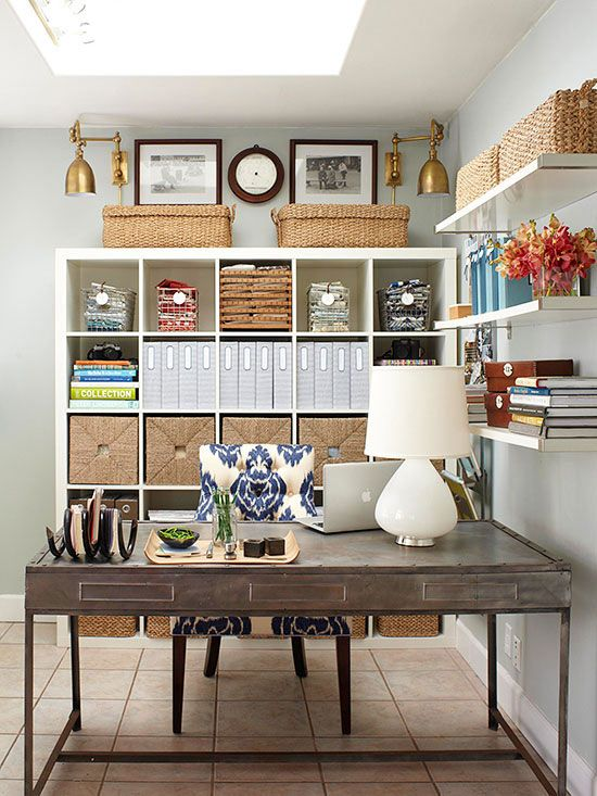 Nothing beats this beautifully organized home office. More of our favorite looks here: http://www.bhg.com/decorating/lessons/expert-advice/top-pins/?socsrc=bhgpin012514smartspacesolutions&page=7