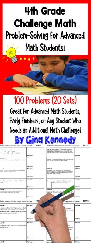 Twenty weeks of 4th grade math challenge problems! Twenty sets of challenging no-prep 4th Grade enrichment math problems that will challenge your most advanced math learners. The problems are great for early finishers, gifted students, or for whole group math problem solving challenges. Print and go math enrichment!$