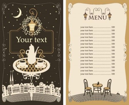 Set of cafe and restaurant menu cover template vector 05 450x367 メニュー作りの参考に!カフェ&レストラン無料メニューテンプレート5セット(商用可・EPS)   Free Style