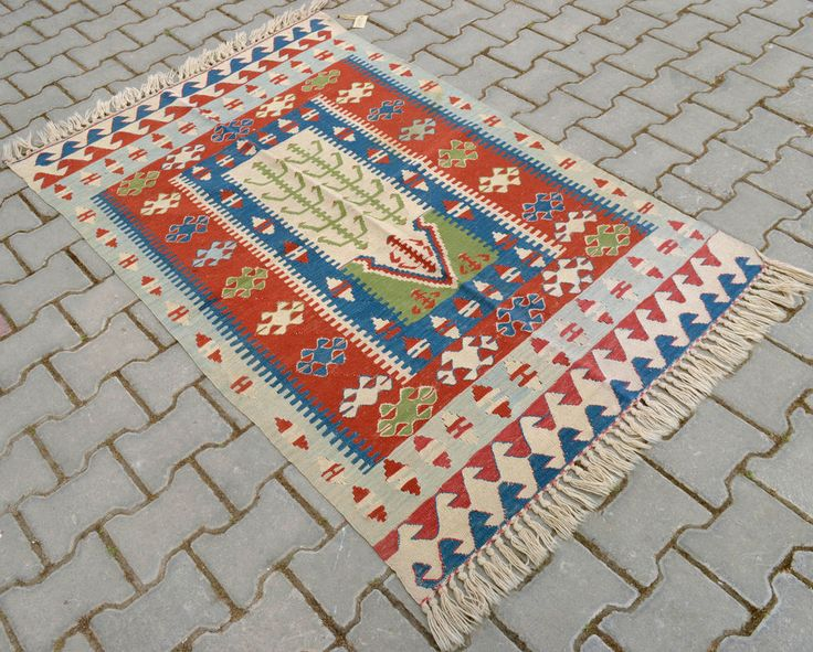 43 x 65 iches Anatolia Turkish Kilim Rug Hand Woven Wool Area Rug 109 x 165 cm  #Turkish