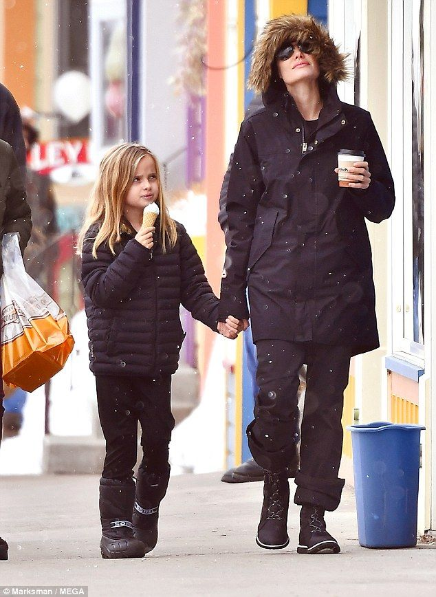 Ice day out:The pair, who are holidaying with the rest of their family, were seen stopping at the Rocky Mountain Chocolate Factory for a hot chocolate and an ice-cream to take away