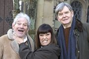 The Vicar Of Dibley. Image shows from L to R: Jim Trott (Trevor Peacock), Geraldine Grainger (Dawn French), Hugo Horton (James Fleet). Copyright: Tiger Aspect Productions.