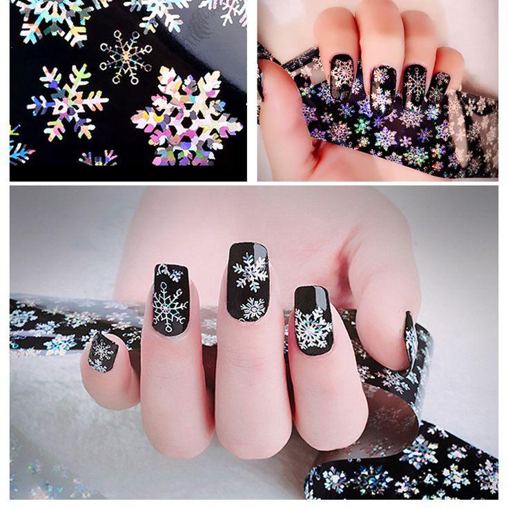1pcs 120cm*4cm Christmas Snowflake Holographic Nail Foils Nail Art Transfer Sticker Paper Decorations