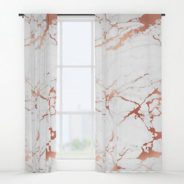 White Rose Gold Marble Window Curtains 7865 Rsd Liked On Polyvore Featuring Home Home Decor Window Rose Gold Room Decor Rose Gold Bedroom Gold Room Decor