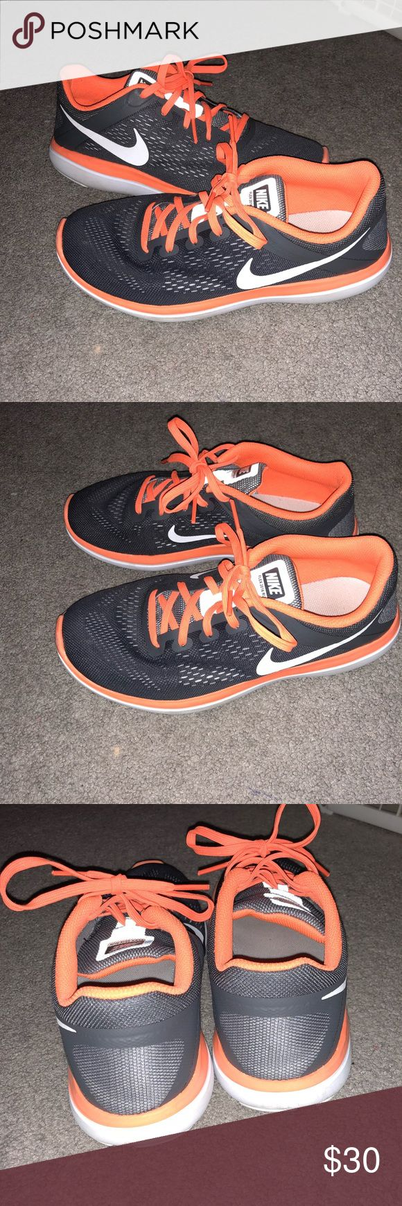Nike Sneakers Orange neon Nike Flex 2016 run sneakers.  Worn a few times.  Odor free!  Super comfortable and cute!!  Size US 6.5 Y Make an offer! Nike Shoes Sneakers