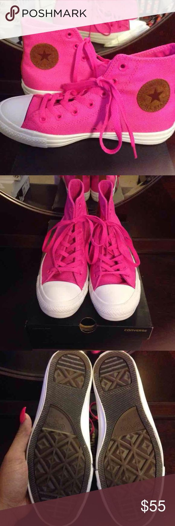 Hot Pink High Top Converse Size 8  Worn once Flawless Original Box Converse Shoes Sneakers
