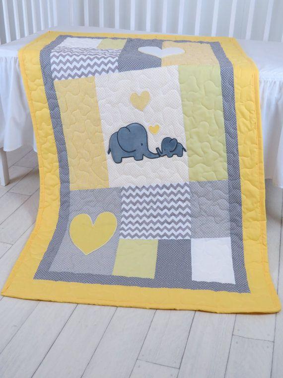 Elephant Crib Quilt Gray Yellow Baby Bedding by Customquiltsbyeva