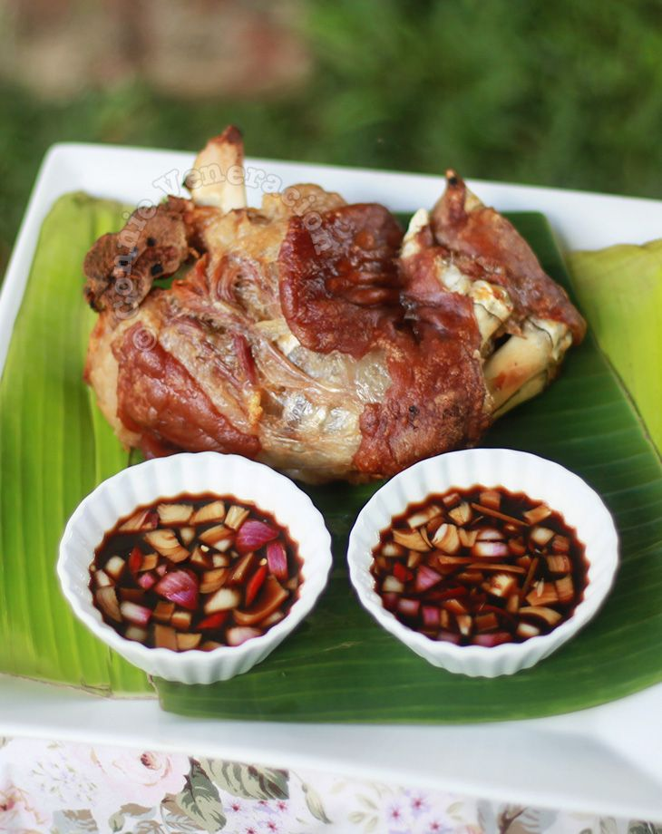 Crispy pata is boiled pork hock deep fried until the rind is puffed and crisp while the meat is tender and moist. This is the no-fry version.