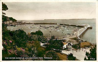 Torquay England UK 1940s Real Photo Vintage Postcard Princess Pier and Harbor