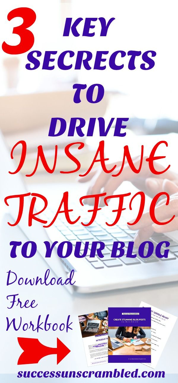 So you paid for the design of a beautiful website or blog but you have no traffic! Learn 3 key secrets to drive insane traffic to your blog or business with this 10 page workbook. #bloggingtips #marketingdigital #businesswoman #girlboss #pinterest