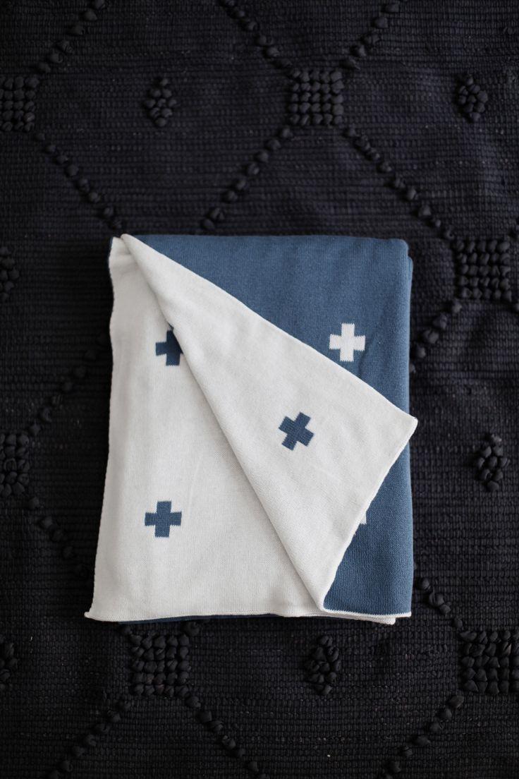 Jamie Kay Cotton Cross Blanket - Steel Blue
