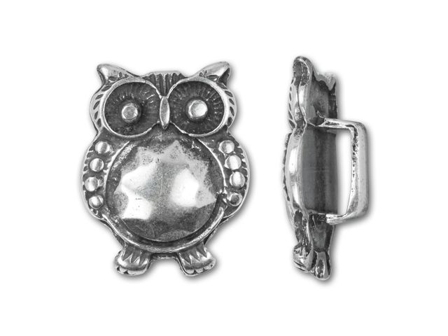 Regaliz Antique Silver-Plated 18.5x14mm Owl Slider Bead