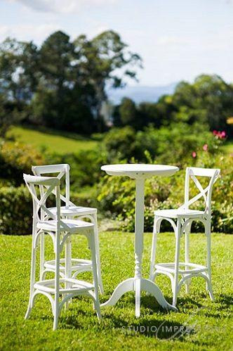White Hampton Cross-Back High Bar Stools and White High Bar Cocktail Furniture | Lovebird Weddings