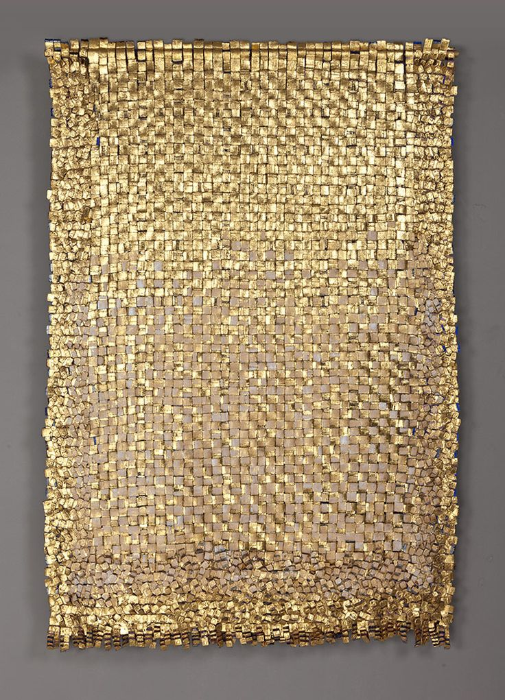 "Olga de Amaral incorporates paint, gesso and precious metals into her fiber art, transforming ""two-dimensional textiles into sculptural works that seamlessly integrate art, craft, and design."" The result is breathtaking."