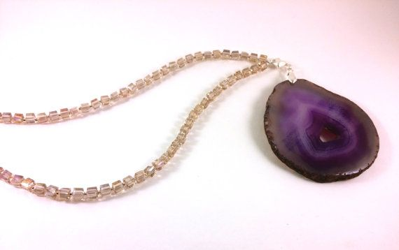 Mauve Purple Agate Necklace Beige Crystal Beaded by RivJewellery