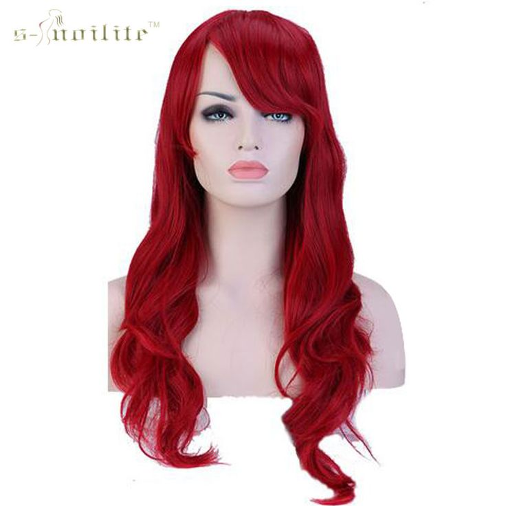 """SNOILITE Women Girl's 28"""" 70cm Synthetic Long Curly Wave Full Head Wigs Heat Resistant Hair Wig Dark Red"""