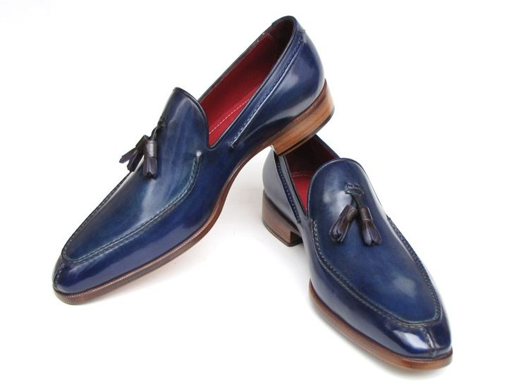 Paul Parkman Men's Tassel Loafer Blue Hand Painted Leather via PAUL PARKMAN ® The Art of Handcrafted Men's Footwear. Click on the image to see more!
