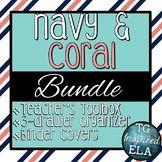 Navy & Coral Bundle Trio:  Toolbox -- 3-drawer Organizer -