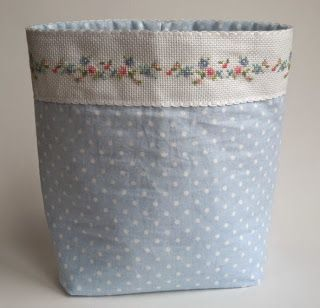 hand embroided and sewn fabric basket