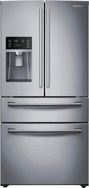 Samsung - 28.2 Cu. Ft. 4-Door French Door Refrigerator with Thru-the-Door Ice and Water - Stainless steel - Front_Standard