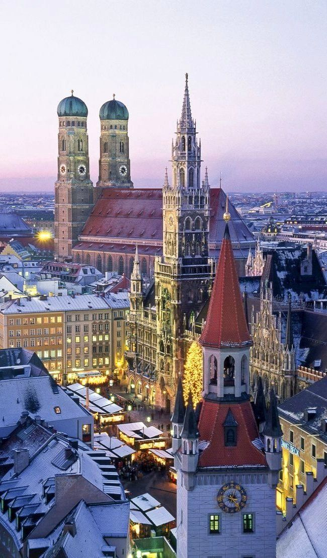 The Marienplatz in Munich, Germany. The tall tower to the right has the Glockenspeil, which is like a giant cuckoo clock. Gotta stay long enough to see it go off once. Sit at one of the cafes and have a beer!