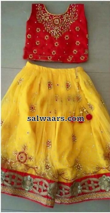 Yellow and red Mirror Work Frock - Indian Dresses