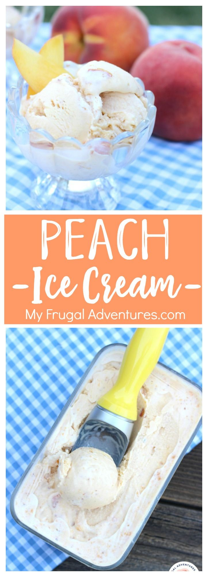 Simple no churn Peach Ice Cream recipe.  So delicious!  A perfect bite of summertime.