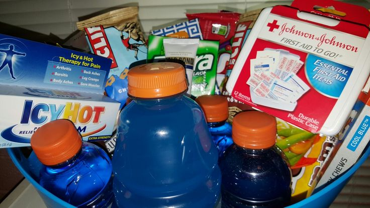 College athlete care package Includes: icy hot, cliff bars, mini first aid kit, gatorade,gum, gold bond mini lotion, travel tissue, gatorade chews, mi…