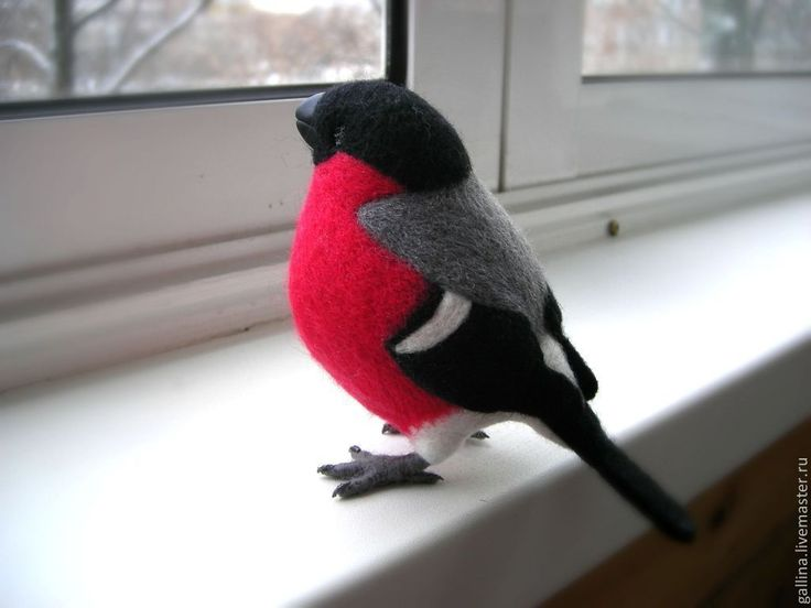Купить Снегирь - птица, дарящая позитив - снегирь, Сухое валяние, Валяные игрушки, птица, игрушка