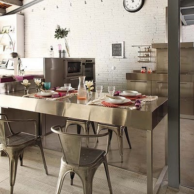 Kitchen in stainless steel.: Kitchens, Interior Design, Dining Room, Idea, Interiors, Loft, Apartment, House