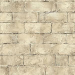 The Wallpaper Company, 8 in. x 10 in. Beige Brick Wallpaper Sample, WC1281952S at The Home Depot - Mobile