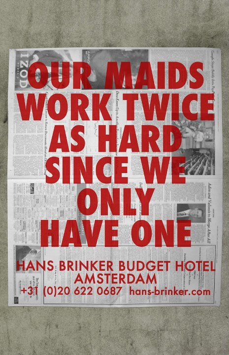 Hans Brinker Budget Hotel, Amsterdam. Design work by KesselsKramer