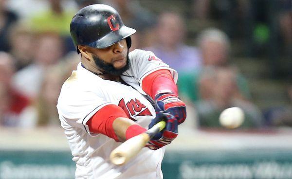 Cleveland Indians first baseman Carlos Santana drills an RBI single in the seventh inning against the Toronto Blue Jays, July 21, 2017, at Progressive Field. (John Kuntz, cleveland.com). Indians won 13-3