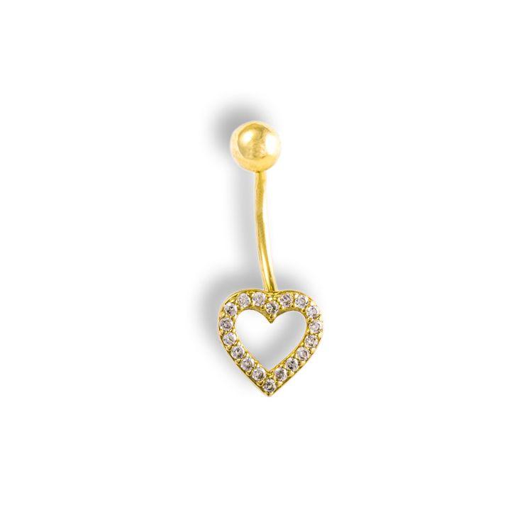 """Luxusní Zlatý piercing do pupíku """"SRDÍČKO"""