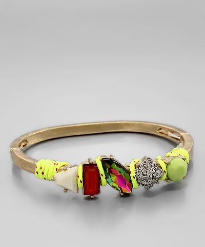 Jewel Cluster Bangle Neon Yellow/ Worn Gold  $24.00 with FAST, FREE SHIPPING