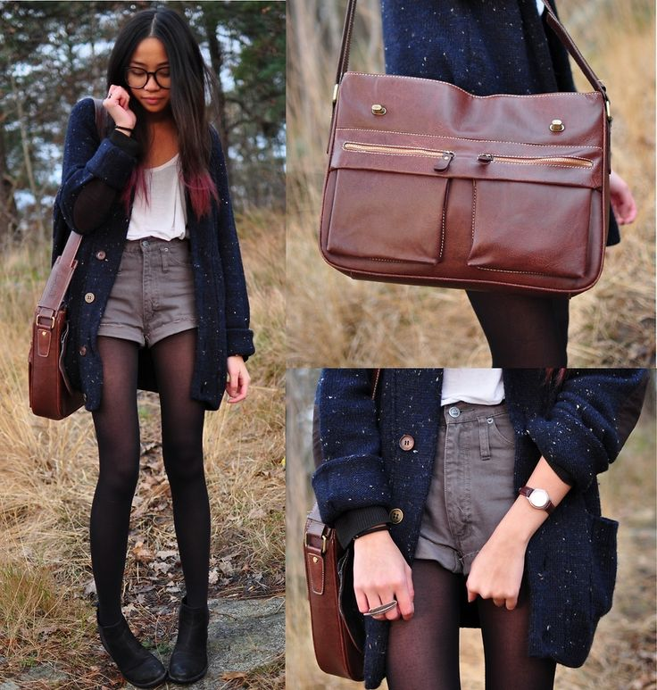 Gray highwaisted navy cardigan white tank black tights