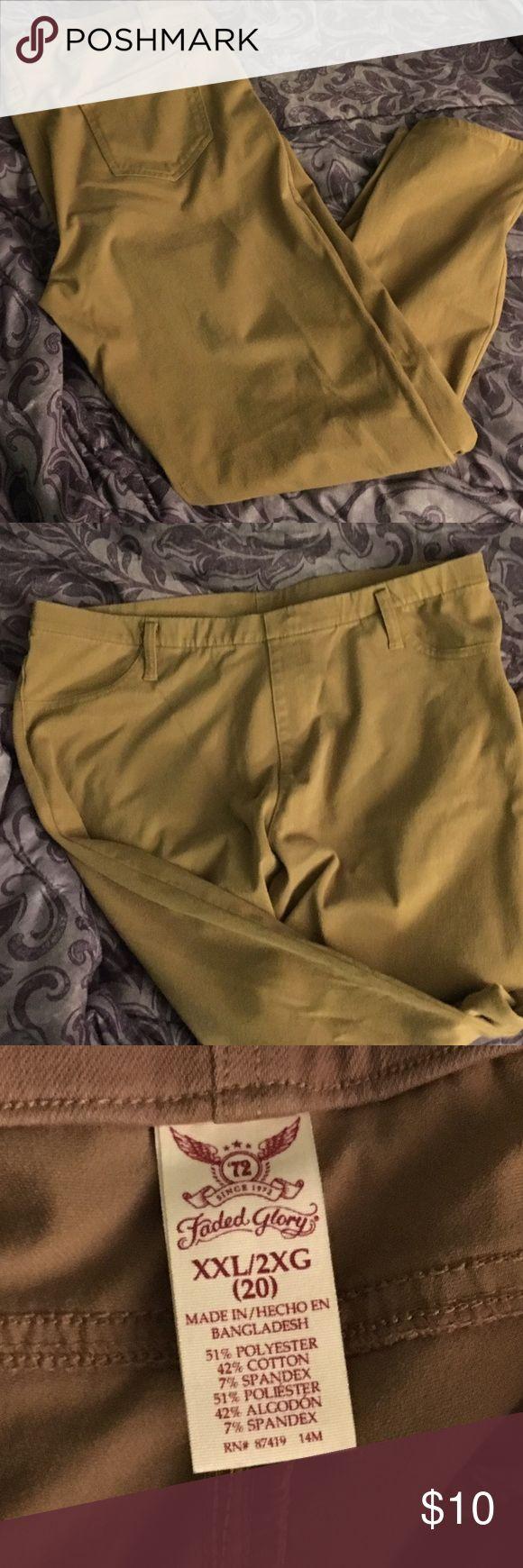 Khaki leggings Gently used khaki leggings. Pairs great with a long blouse😄 Faded Glory Pants Leggings
