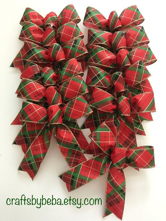 Plaid Christmas Tree Bows Christmas Plaid Red And Green Decorative Bows Set Of 12 Bows Small Chri Christmas Tree Bows Christmas Bows Diy Xmas Decorations