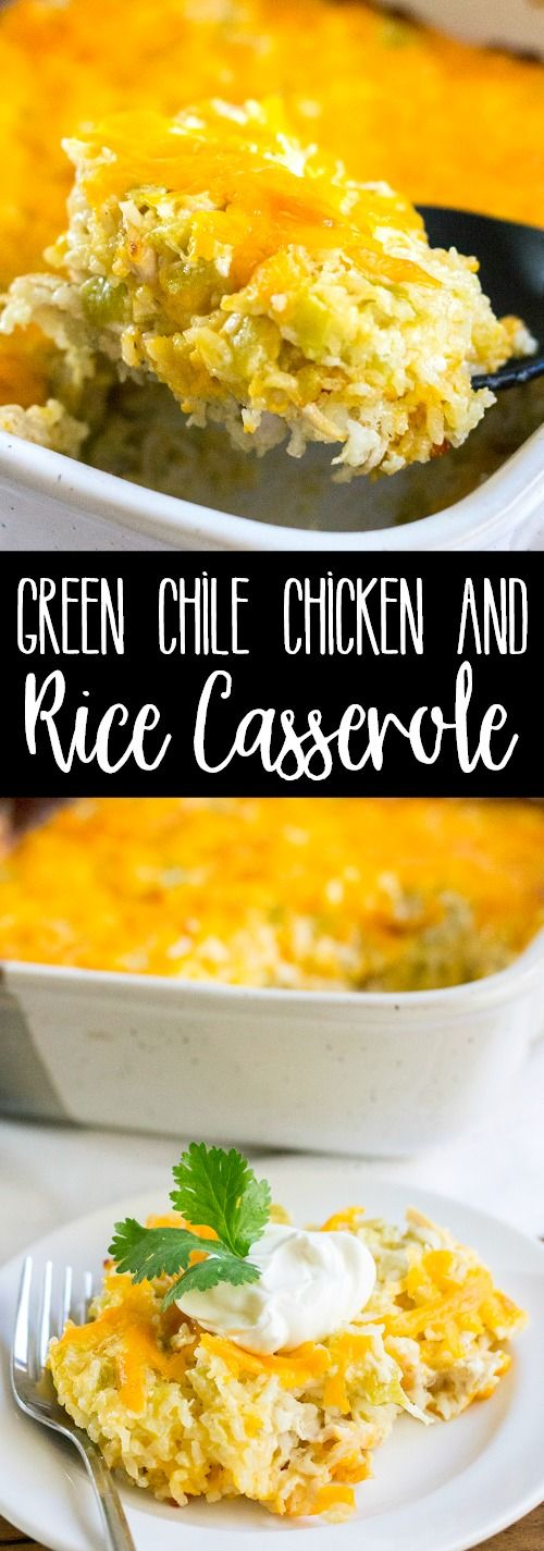 Green Chile Chicken and Rice Casserole is a southwest spin on Southern comfort food your family will ask for time and again! via @breadboozebacon