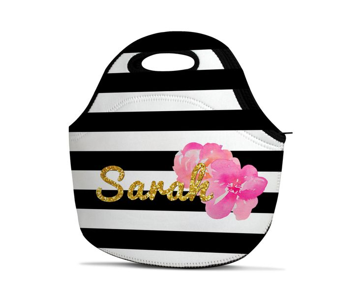 Personalized Lunch Bag - Monogram Lunch Bag - Gold Lunch Bag - Name Lunch Bag - Insulated Lunch Bag - Neoprene Lunch Bag - Striped Lunch Bag by CityMonograms on Etsy