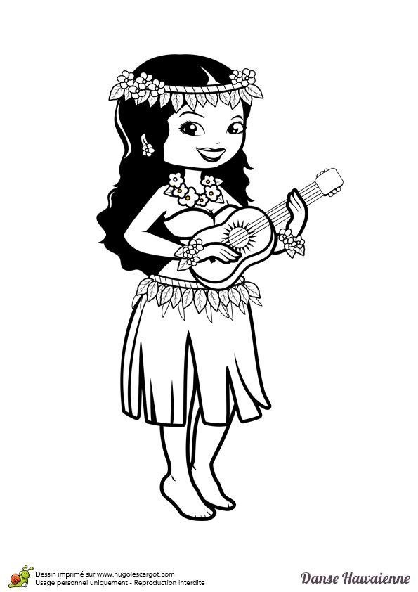 A colorier une jolie danseuse hawaïenne avec un collier et une couronne de fleurs