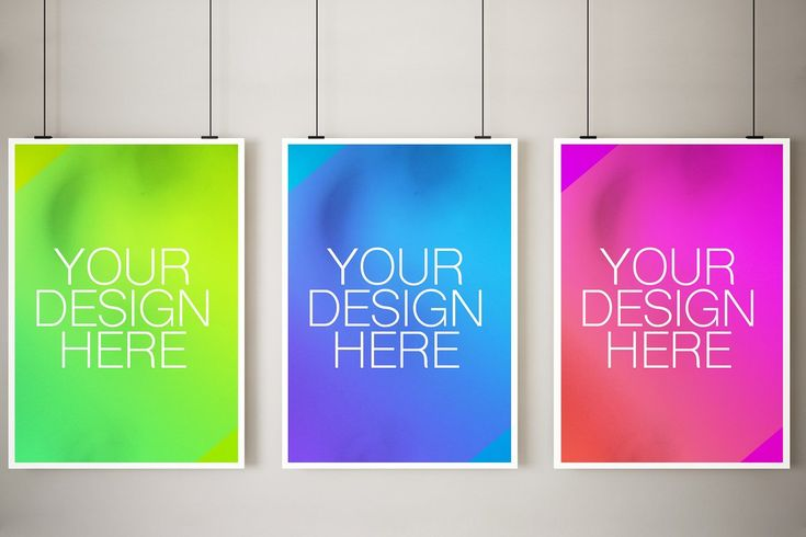 Three Hanging Poster Mockup Poster Mockup Hanging Posters Poster On