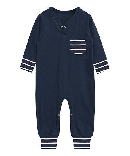 A.T.U.N. Navy & Black Stripe Playsuit - Infant | zulily