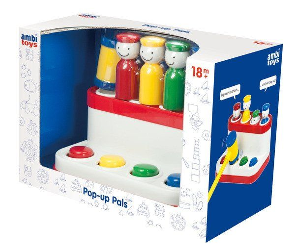 Ambi Toys Pop-Up Pals helps develop hand-eye coordination and manual dexterity. Tap a button with the hammer and the matching coloured pal pops up. Repeat the fun game of peep-o with the four smiley pals.