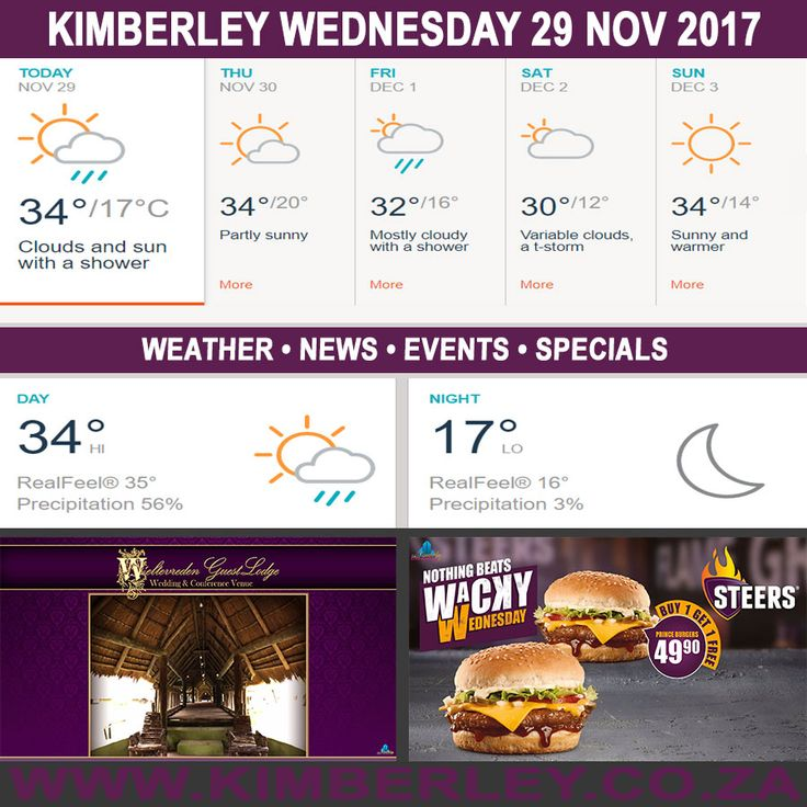 KimberleyToday, Wednesday 29/11/2017 - http://www.kimberley.org.za/kimberleytoday-wednesday-29112017/?utm_source=PN&utm_medium=Pinterest+History+KImberley.org.za&utm_campaign=NxtScrpt%2Bfrom%2BKimberley+City+Info - #KimberleyToday, Wednesday 29/11/2017 The weather forecast for today is; Intervals of clouds and sunshine with a shower, becoming clear later on.  Max UV Index:10 Fire Danger:Low Thunderstorms:29% Rain:2mm  #KimberleyEvents @...