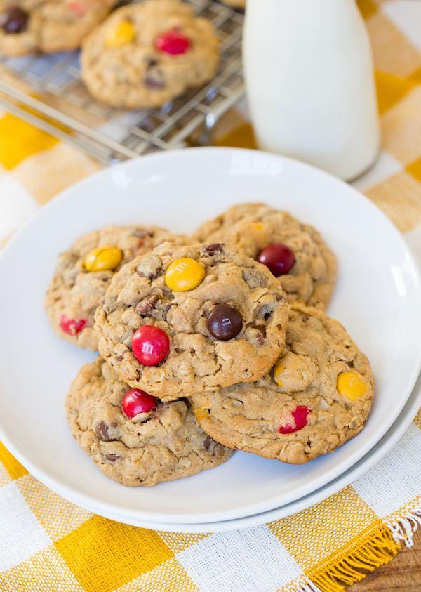 Peanut Butter M&M Oatmeal Cookies   Recipe   Oatmeal ...