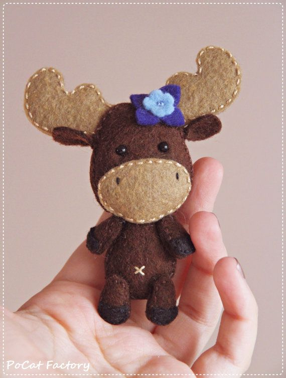 Felt Pocket Moose doll brooch keychain magnet by PoCatFactory